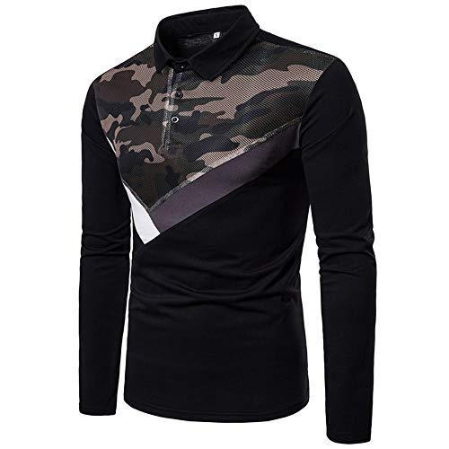 NISHIPANGZI Mens Herbst Winter Mesh Gaze Camouflage Stitching Fashion Design Revers Langarm Polo Shirt Schwarz, S (Mesh-polo-shirt Besticktes)