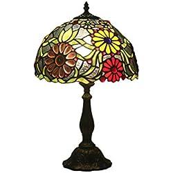 DLewiee Lámpara de pie Lámpara Antigua de pie con Cubierta Floral Verde Margarita Colorida para dormitorios luz Natural
