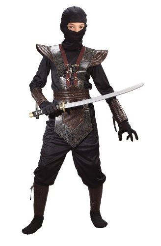 Child Leather Ninja Fighter Costume (Large, Brown)