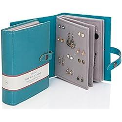 The Little Book of Juego de Pendientes - pendientes con cristales de flores de tipo libro con capacidad para 48 pares de pendientes a presión 4 páginas