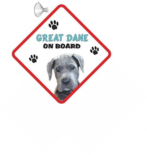 Deutsche Dogge (blau) Hund zum Aufhängen AUTO Schild mit Gummi Sucker 122 (Blaue Dogge-tassen)