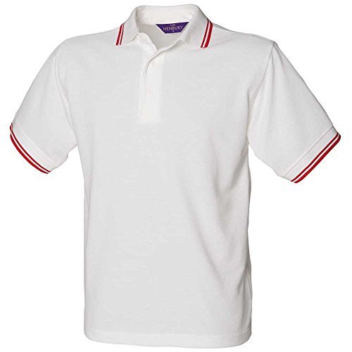 Henbury Children's Pique Polo Shirts With Contrast Tipping White/Red