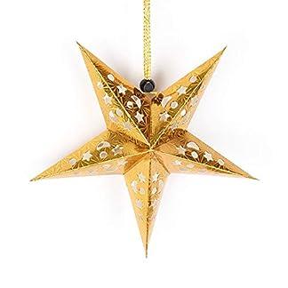Decoraciones colgantes de techo de pantalla de lámpara de papel de pentagrama de estrella hueca 3D para fiesta de Navidad – oro de 30 cm