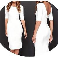 skirt Cuello Redondo, Falda de Lápiz de Cadera, Falda Delgada, Ropa de Mujer Europea Y Americana,Blanco,XL