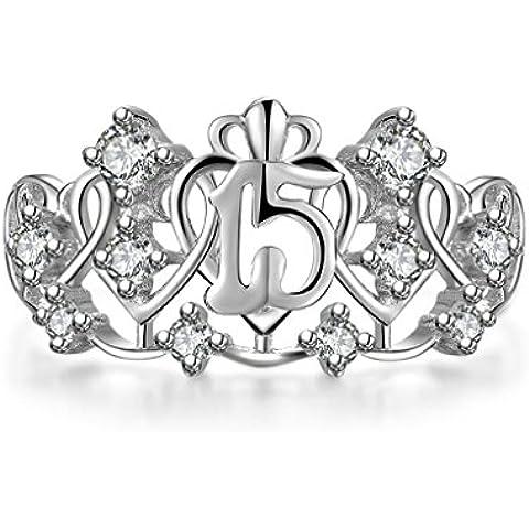 (Personalizzati Anelli)Adisaer Anelli Donna Argento 925 Anello Fidanzamento Incisione Gratuita Corona Cuore Anello Diamante