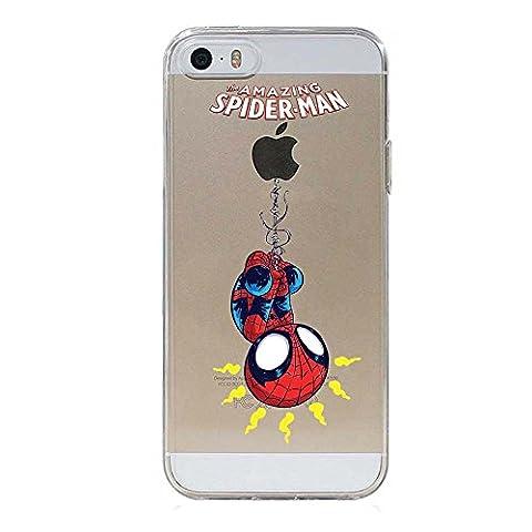 IP5 5S SE Couverture Coque Cover TPU GEL TRANSPARENT, doux, garde, protecteur, Marvel Collection Spéciale, Spider Man, iPhone 5 5S