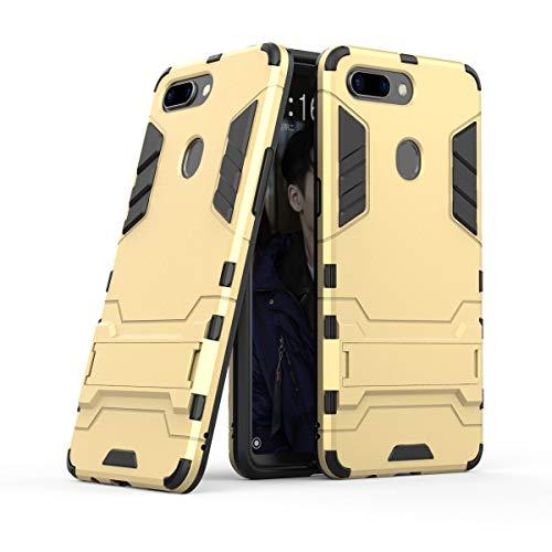 Xinanlongjb Für Oppo R15 Pro (Oppo R15 Dream Mirror Edition) mit Fallschutzhalterung Classic 2 in 1 Armor Series Coole Handyhalterungsfunktion Hartschalen-Hülle (Farbe : Gold)