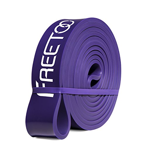 FREETOO Bandas de Resistencia de Goma Fitness Cinta de Resistencia para el Entrenamiento de Fuerza/músculos/Ejercicio/Home gimnasios en 5 Puntos Fuertes (púrpura)