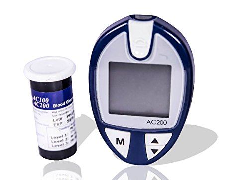 JSB AC200 Blood Glucose Monitor (Blue) with Free Strips - 50 Count and Lancets - 50 Count