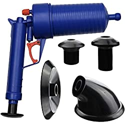 High Pressure Hand Power Drain Toilet Plug Sink Plunger Tool Cleaner wiht 4 adaptors