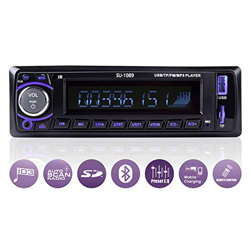 Ironpeas Autoradio mit Freisprecheinrichtung Bluetooth/USB / SD/AUX / FM, Single Din Version, Autoradio, MP3-Player, Fernbedienung enthalten