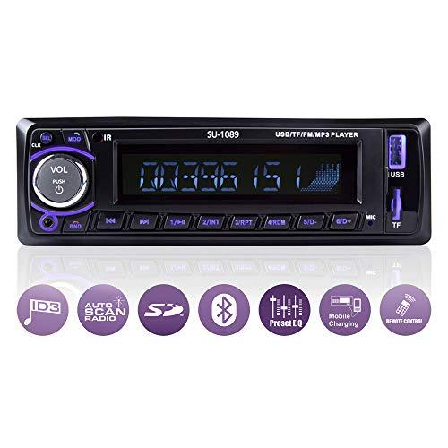 Ironpeas Autoradio mit Freisprecheinrichtung Bluetooth/USB / SD/AUX / FM, Single Din Version, Autoradio, MP3-Player, Fernbedienung enthalten - Mit Aux Bluetooth Autoradio Und