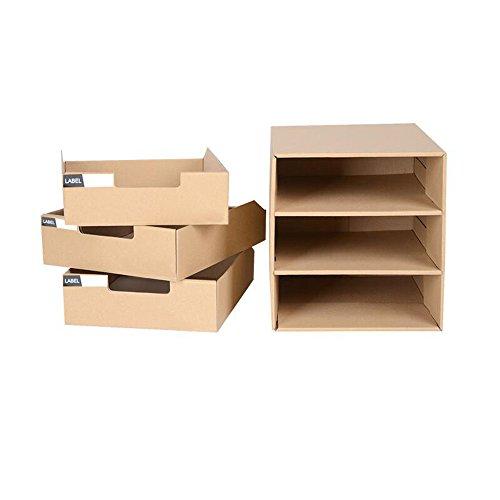 FONGFONG Datei Organizer Schubladenbox Systembox Pappe Bürobox Zeitschriftenhalter Dokumente Organizer Aufbewahrungsbox Schreibtisch Speicherorganisator mit 3 Geschlossenen Schubladen