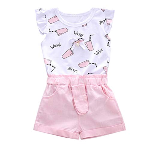 MRULIC Baby Mädchen Outfits Kleidung Bowknot Weste Tops + Plaid Shorts Hosen Sets Anzug 1-6 Jahre(X3-Rosa,90) Adult Baby Kleidung