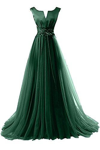 Gorgeous Bride Elegant Brautmutterkleider A-Linie Satin Tüll Spitze Schleppe Abendkleider Lang Festkleider Ballkleider Dunkelgrün