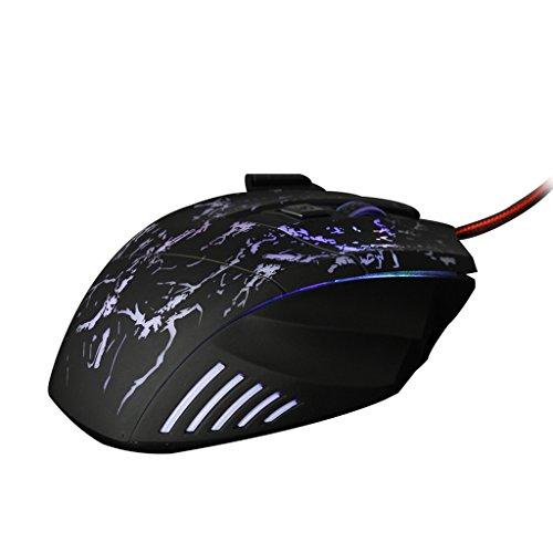 MagiDeal 5500DPI LED USB Ottico Mouse 7 Pulsante Mouse di Gioco per PRO Gamer
