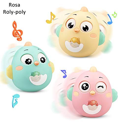 Lanero Roly-Poly Stehaufmännchen, Spielzeug für Babys und Neugeborene, Beißring-Spielzeug mit Glocke, Wackelpuppe, originelles Lernspielzeug (Rosa)
