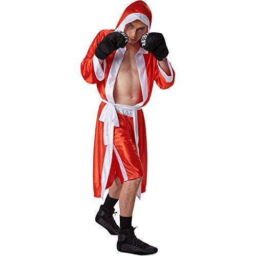 stüm Boxer | kurze Shorts mit Gummizug | Boxermantel mit Kapuze | Inkl. Boxhandschuhe und Gürtel (Rot XL | Nr. 301837) ()