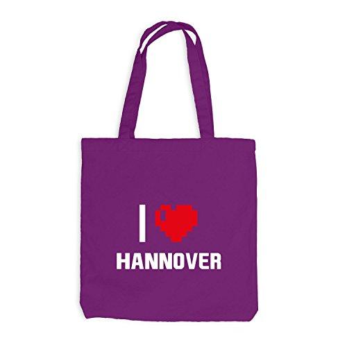 Jutebeutel - I Love Hannover - Deutschland Reisen Herz Heart Pixel Magenta