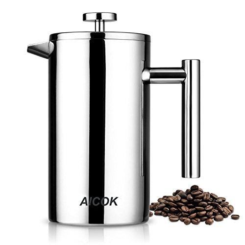 Aicok - Cafetera de émbolo de 1 litro