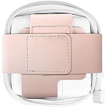 """Fintie Étui MacBook MagSafe 2Chargeur Alimentation–portable Premium Étui Coque Housse Sleeve Ficelle Câble Organisateur en cuir synthétique pour MacBook Power Adaptateur, or rose MacBook Air 13"""" Or rose"""