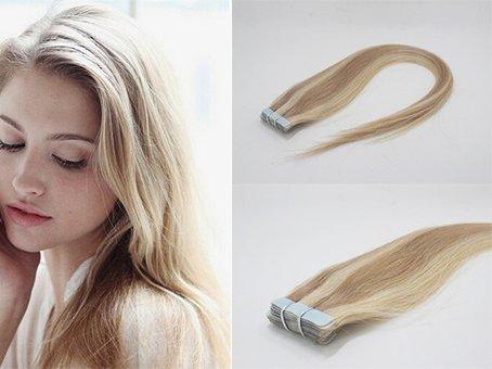 Romantic Angels 20 x 2.5g Remy extensions à bandes adhésives de cheveux naturel/Skin Weft/Tape Extensions 20''(50cm) - Coleur:#18/613