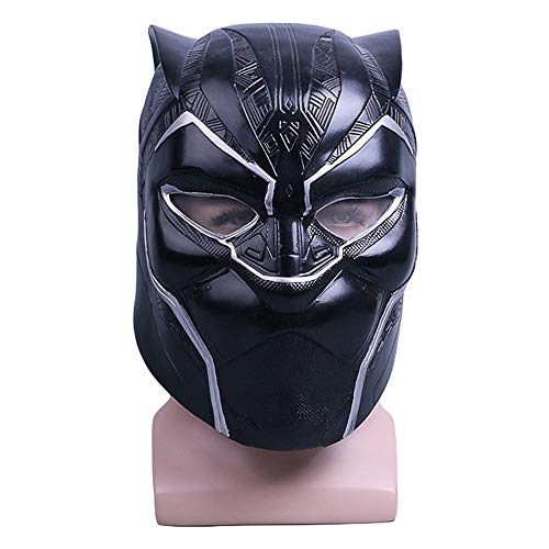 Schwarzer Panther PVC voller Kopf Maske Helm Cosplay Kostüm Masken für Maskerade Halloween Party Mardi Gras,Black-OneSize