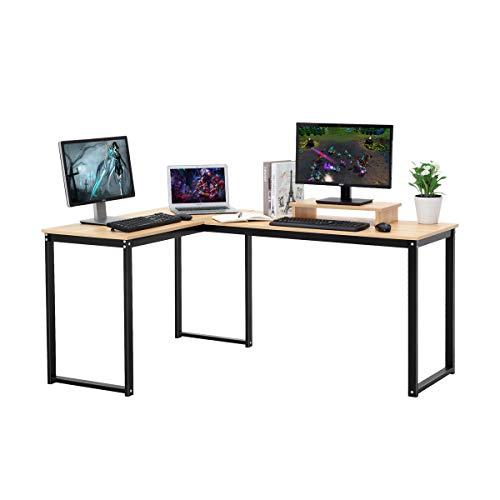 LASUAVY - Escritorio para ordenador con forma de L haya