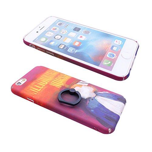 """iProtect Hardcase mit Ring Halter Marmor Design Schutzhülle in Schwarz mit Fingerhalterung für Apple iPhone 6 6s (4,7"""") Nurse"""