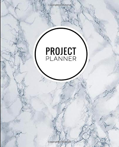 Project Planner: Marble Stone Navy Blue -Productivity Management Goal Journal Notebook Organizer For Work, Home & School [Classic] -