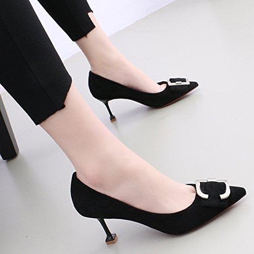 kphy-satin papillon punta fine con Single scarpe femmina 7cm tacco alto fibbia luce. Black Wild Cat con scarpe, LPP-ra1Wz7r6-36 LPP-ra1Wz7r6-37