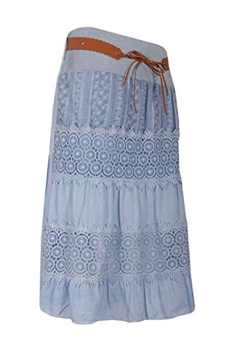 Moda Italy Damen Sommerrock Knielang Boho Vintage Midirock Stufenrock Strandrock Freizeit Häkelspitze Bordüre Jeansblau