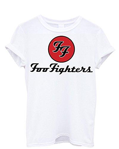 T-shirt Uomo Foo Fighters Maglietta rock band 100% cotone LaMAGLIERIA, S, Bianco