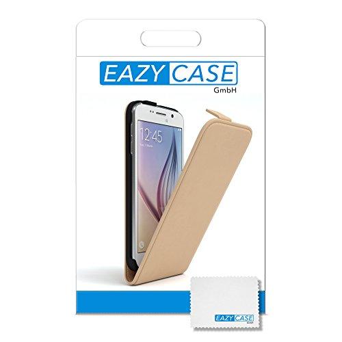 Samsung Galaxy S6 Hülle - EAZY CASE Premium Flip Case Handyhülle - Schutzhülle aus Leder zum Aufklappen in Anthrazit Hellbraun