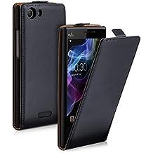 "kwmobile Funda para Wiko Ridge Fab 4G (5.5"") - Flip Case para móvil en cuero sintético - Cover plegable negro"