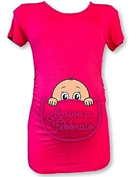 T Shirt Natale Maglia Premaman In Arrivo a Febbraio