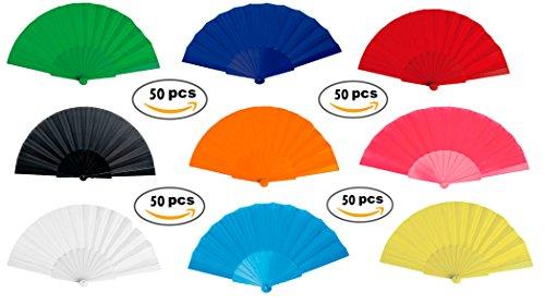 Lote de 50 Abanicos de Plástico y Tela de Colores Variados -...