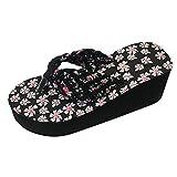 KERULA Frauen MäDchen Keile Blume Flip-Flops Sandalen Hausschuhe Strand Schuhe Tuch Plattform Casual Mode
