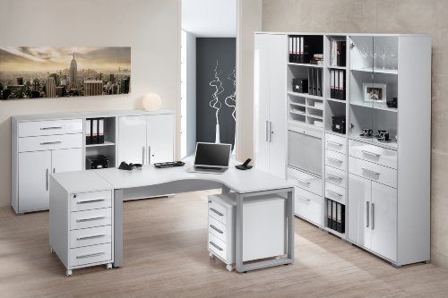 Arbeitszimmer Komplettset Maja System 1207 10-teilig / Büromöbel in Icy Weiß / Weiß Hochglanz