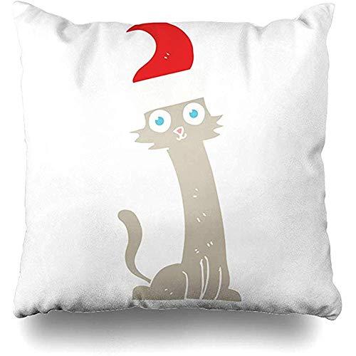 Verrückte Weihnachten Hüte - qinzuisp Kissenbezug Freihand Flache Farbe Katze