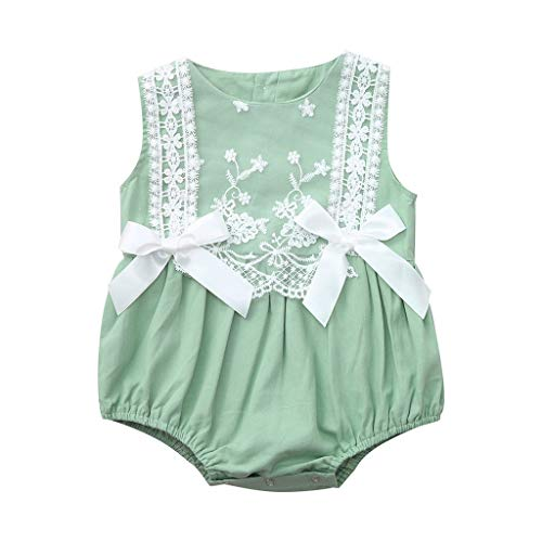 mpler Neugeborenes Baby Outfits Lace Bow Ärmellos Sommer Floral Bodysuit Sunsuit Overall Niedlichen Sommer Kostüm Sets(Grün,18-24 Monate) ()