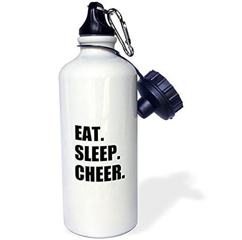 liandun Eat Sleep Cheer Sport bouteille d'eau, 21oz, blanc