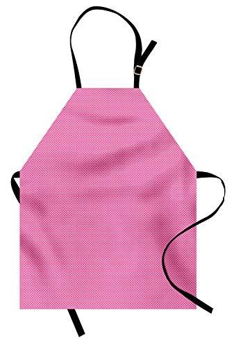 �rze, Rosen-Hintergrund mit geometrischen Mini-Details Angrenzend viktorianisches Design, Unisex-Küchenschürze mit verstellbarem Hals für das Kochen Backen im Garten, Rosa und Weiß ()