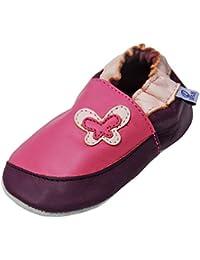 """Scarpine in pelle Maedchen pantofole scarpe neonato con suola in gomma gr.19-31 lappa.de """" FARFALLA Rosa-Lilla """" art.11g"""