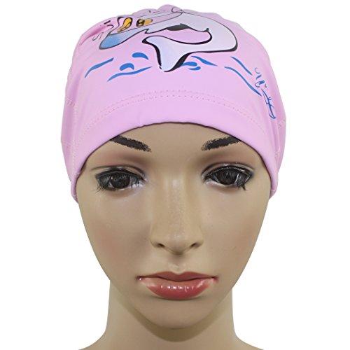 Dianoo Kinder- wasserdicht schwimmen Kappe, Ohrenschützer atmungsaktiv Schutz Kinder schwimmen Hut mit PU Glasur Karikatur Muster - Rosa