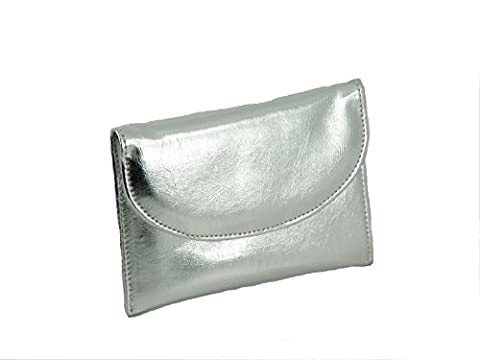 LONI Ladies Faux Leather Wallet Clutch Bag Purse Coin Pouch in Metallic Silver