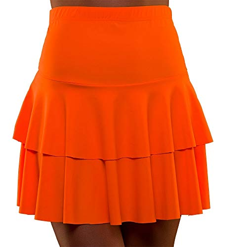 Unbekannt 80's Neon Ra Ra Skirt Orange Small and Extra Small for Fancy Dress Costume