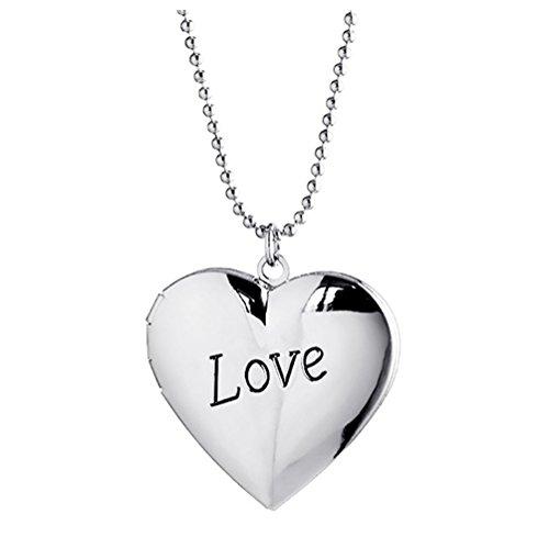 Herz Locket Anhänger Halsketten, die Bilder hält Charm Silber überzogene Liebe graviert für Frauen (Der Kostüme Bilder)