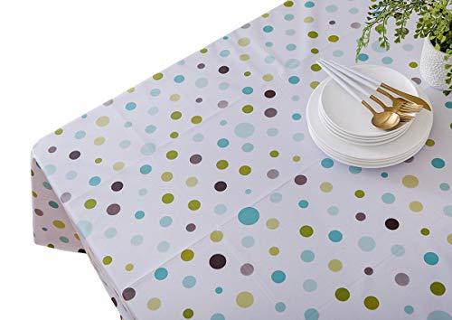 Vinylla Multi Farbe Polka Dot Einfach abwischbar Vinyl Tischdecke, PVC, Mehrfarbig, 140 x 180 cm