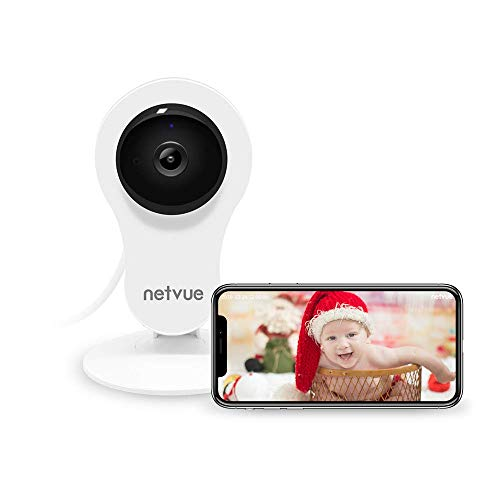 NETVUE Überwachungskamera Innen WLAN Handy WLAN Kamera, Haussicherheitskamera Babyphone mit Bewegungserkennung, Nachtsicht, 2-Wege-Audio, 14X24H Cloud-Speicher,Haustier Kamera